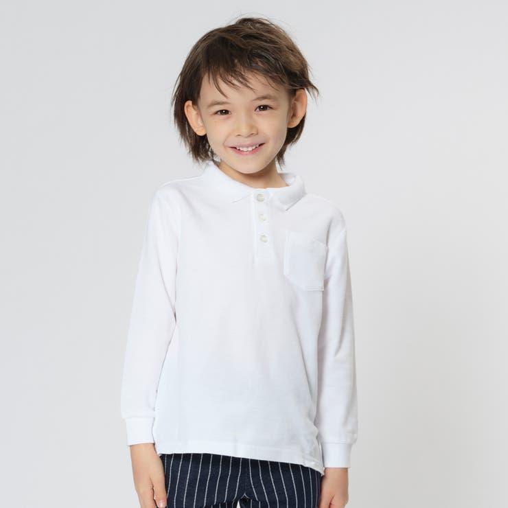 TARKER 鹿の子長袖無地白ポロシャツ 100cm~160cm   こどもの森e-shop   詳細画像1