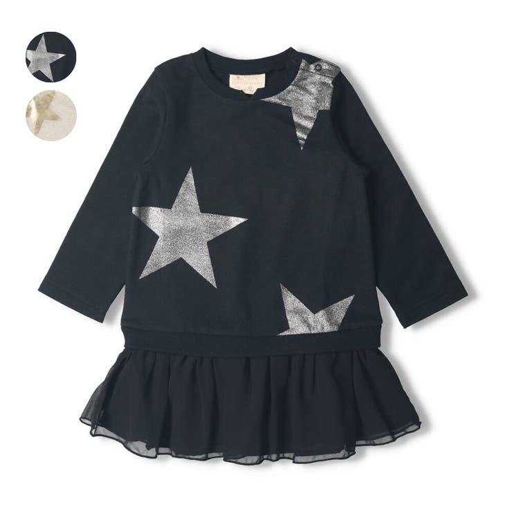 【子供服】DaddyOhDaddy(ダディオダディ)ネット限定日本製箔星柄ワンピース90cm~150cmV14350 | 詳細画像