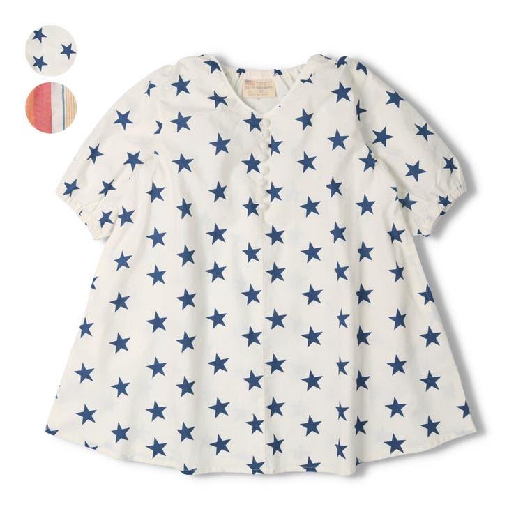 【子供服】DaddyOhDaddy(ダディオダディ)星柄・ストライプ柄7分袖ワンピース80cm~150cmV34320 | 詳細画像