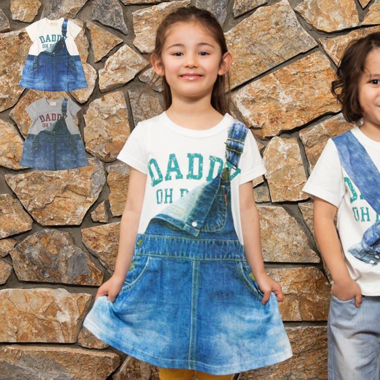 【子供服】DaddyOhDaddy(ダディオダディ)デニムジャンスカプリントTワンピース80cm~150cmV34322   詳細画像