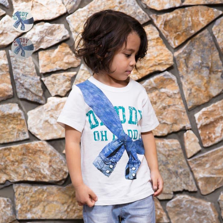 【子供服】DaddyOhDaddy(ダディオダディ)デニムシャツプリントTシャツ80cm~150cmV34822   詳細画像