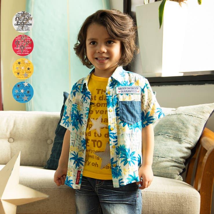 【子供服】DaddyOhDaddy(ダディオダディ)日本製デニムアップリケ使いロゴTシャツ80cm~150cmV34823 | 詳細画像
