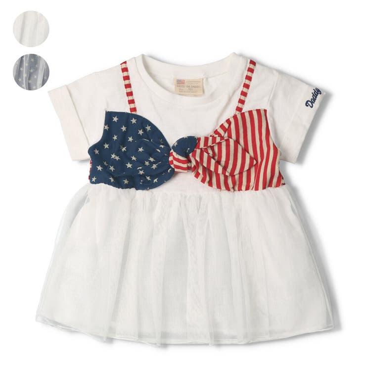 【子供服】DaddyOhDaddy(ダディオダディ)星条旗ビスチェチュニックTシャツ80cm~150cmV34826   詳細画像