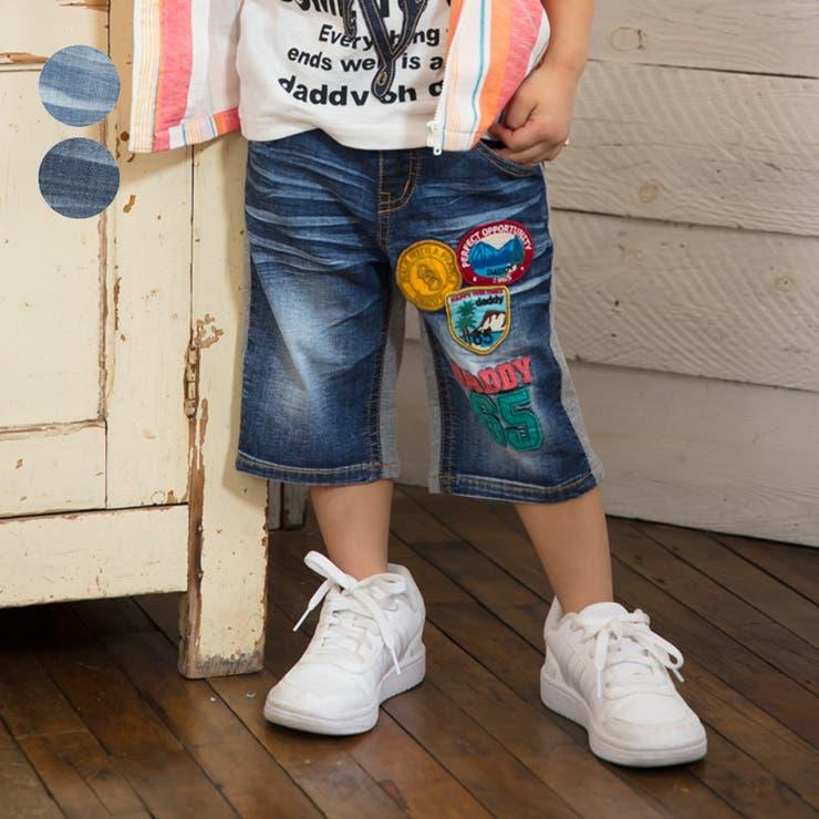 【子供服】DaddyOhDaddy(ダディオダディ)ワッペン付き前後切替デニムハーフパンツ80cm~150cmV35121 | 詳細画像