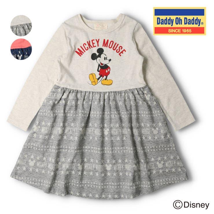 【子供服】DaddyOhDaddy(ダディオダディ)日本製ミッキーデザイン切替ワンピース80cm~150cm   詳細画像