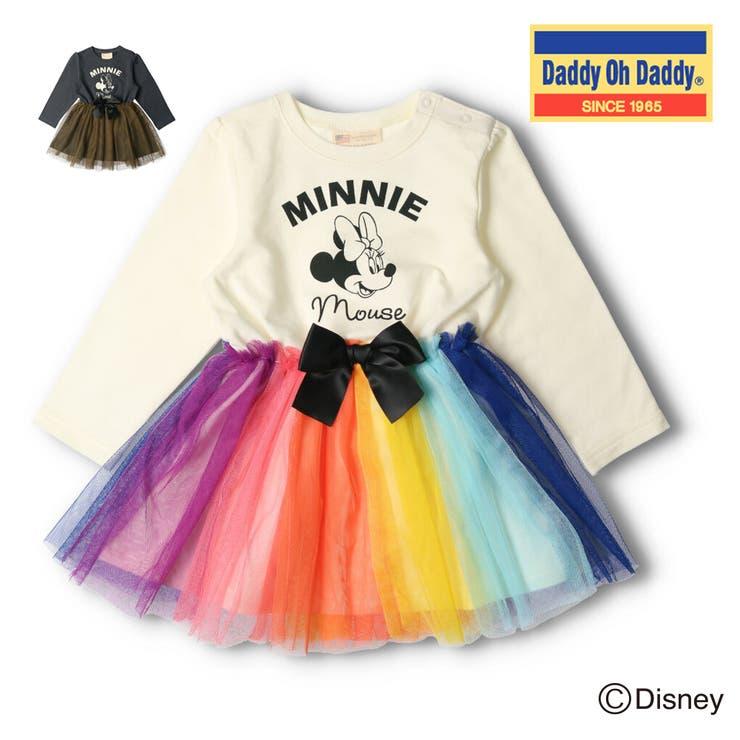 【子供服】DaddyOhDaddy(ダディオダディ)ミニーデザインチュール切替ワンピース80cm~150cmV52382   詳細画像