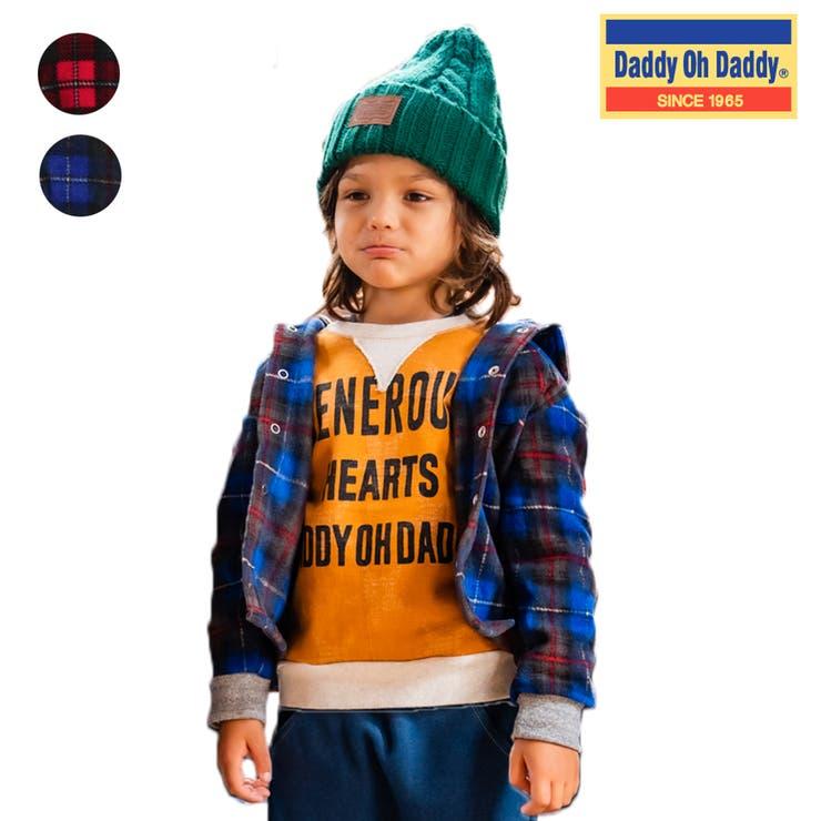 【子供服】DaddyOhDaddy(ダディオダディ)フード付きチェックシャツ80cm~150cmV52560 | 詳細画像