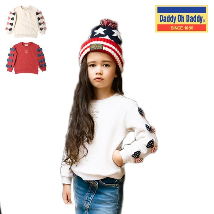 【子供服】DaddyOhDaddy(ダディオダディ)日本製袖リボン裏毛トレーナー80cm~150cm | 詳細画像