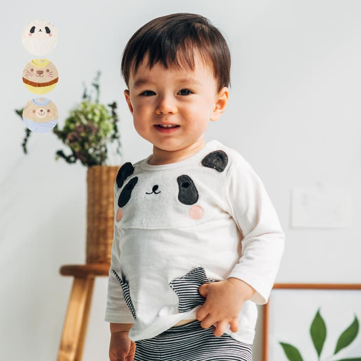 【子供服】kid´szoo(キッズズー)パンダ・ライオン・くま動物Tシャツ70cm~95cmW14810 | 詳細画像