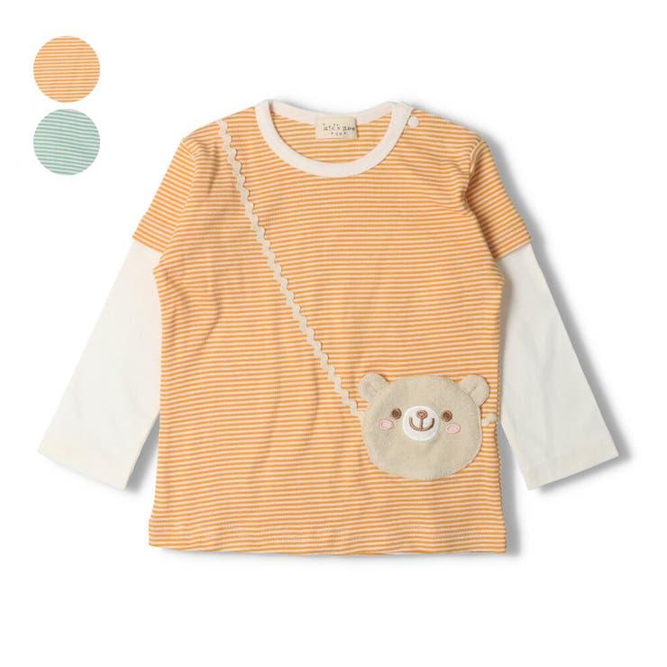 【子供服】kid´szoo(キッズズー)くまポシェットボーダーTシャツ70cm~95cmW14811 | 詳細画像