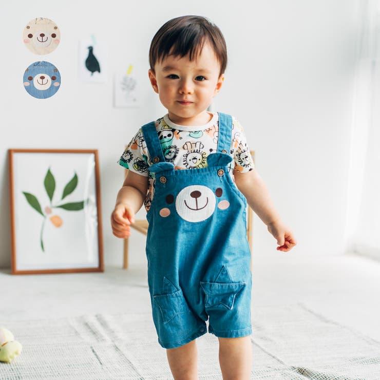 【子供服】kid´szoo(キッズズー)デニムくまサロペット・オーバーオール70cm~95cmW15111 | 詳細画像