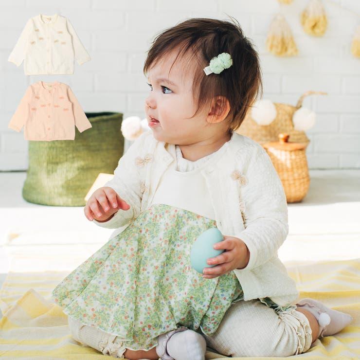 【子供服】kid´szoo(キッズズー)リボン付カーディガン70cm~95cmW24400   詳細画像