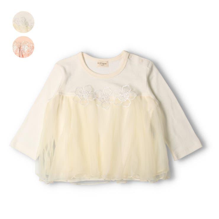 【子供服】kid´szoo(キッズズー)お花付きシフォン切替フレアーTシャツ70cm~95cmW24802   詳細画像
