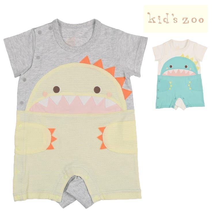 【子供服】kidszoo(キッズズー)恐竜切替ロンパース・Tオール70cm,80cmW32710   詳細画像