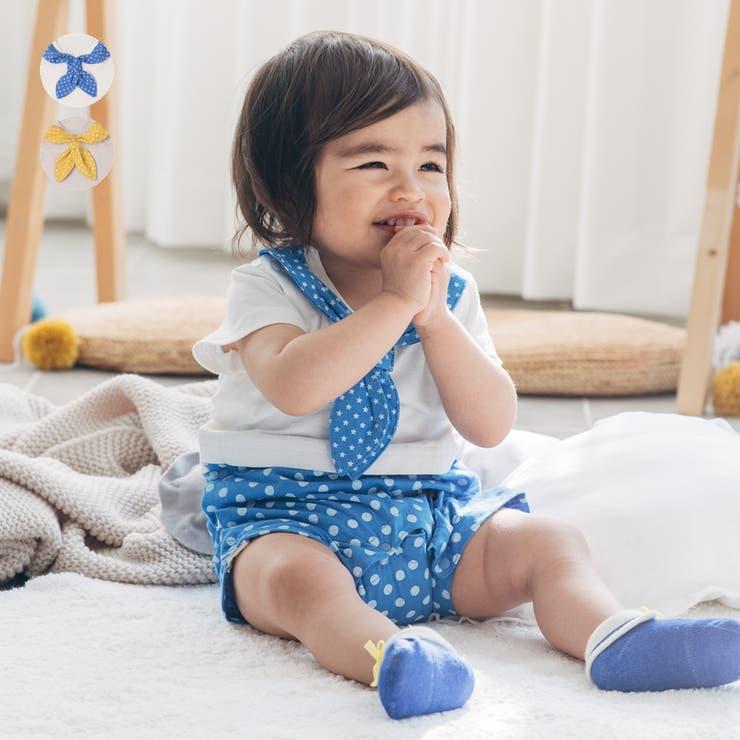 【子供服】kid´szoo(キッズズー)スカーフ付きマリンオール・ロンパース70cm,80cmW34702   詳細画像