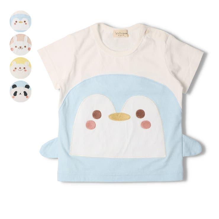【子供服】kid´szoo(キッズズー)ペンギン・ウサギ・クマ・パンダ動物Tシャツ70cm~90cmW34802 | 詳細画像