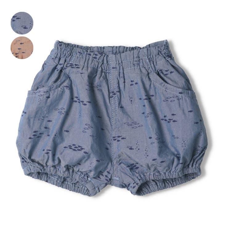 【子供服】kid´szoo(キッズズー)魚柄ダンガリーブルマパンツ70cm~90cmW35110   詳細画像