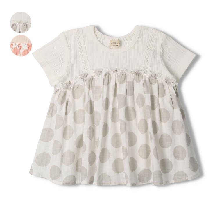 【子供服】kid´szoo(キッズズー)ドット柄キャミ風Tシャツ70cm~90cmW44812 | 詳細画像
