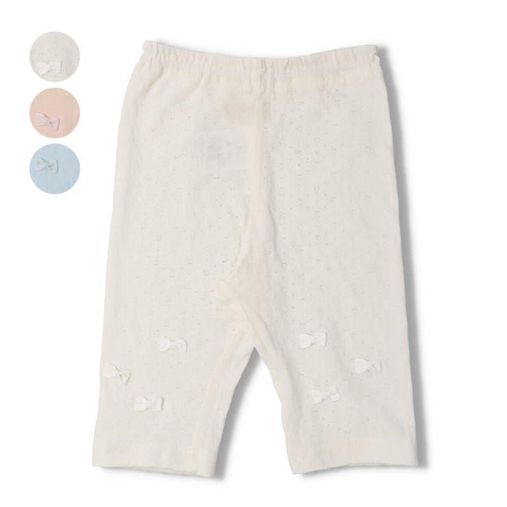 【子供服】kid´szoo(キッズズー)メッシュジャガードリボン付6分丈レギンスパンツ70cm~90cmW45101 | 詳細画像