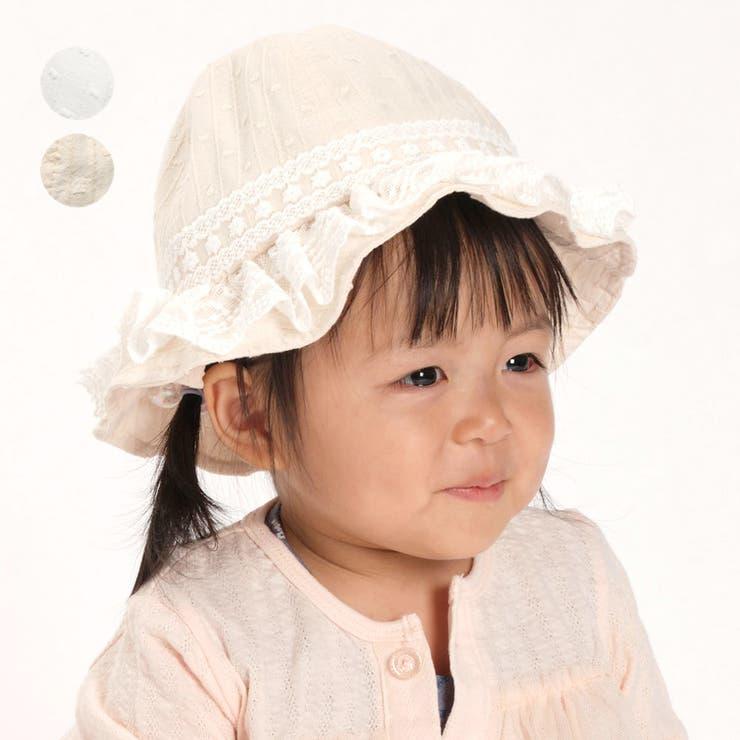 【子供服】kid´szoo(キッズズー)日よけたれ付きレースフリルハット・帽子46cm,48cmW45401 | 詳細画像