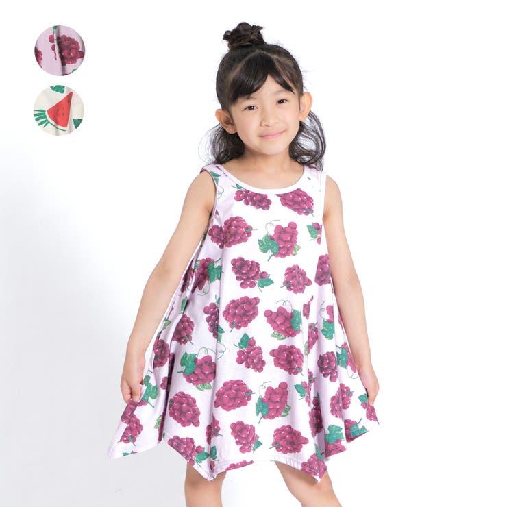 【子供服】JollyJury(ジョリージュリー)ぶどう・スイカ柄ワンピース80cm~130cmZ44316 | 詳細画像