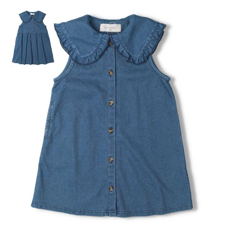 【子供服】WILLMERY(ウィルメリー)カットデニムワンピース・ジャンパースカート90cm~130cmZ44317 | 詳細画像
