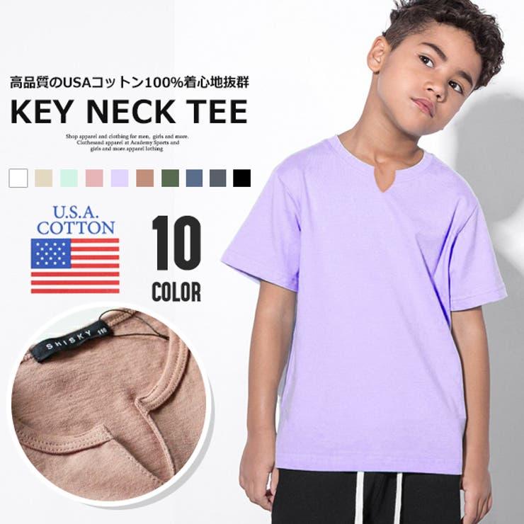 USコットン100% キーネックTシャツ 子供服   MB2   詳細画像1