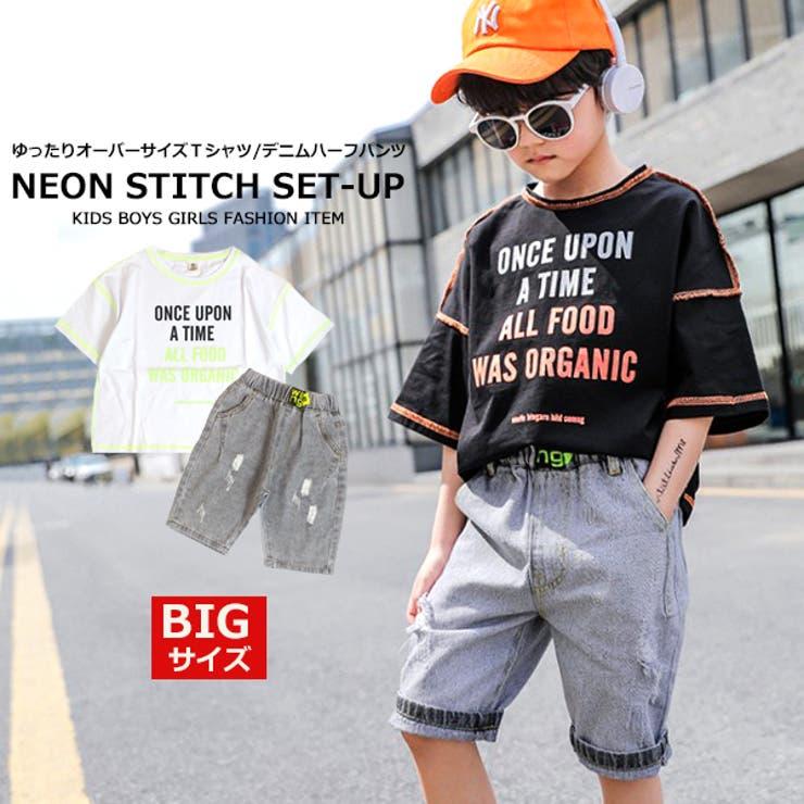 BIGサイズ ネオンカラー ステッチTシャツ   MB2   詳細画像1