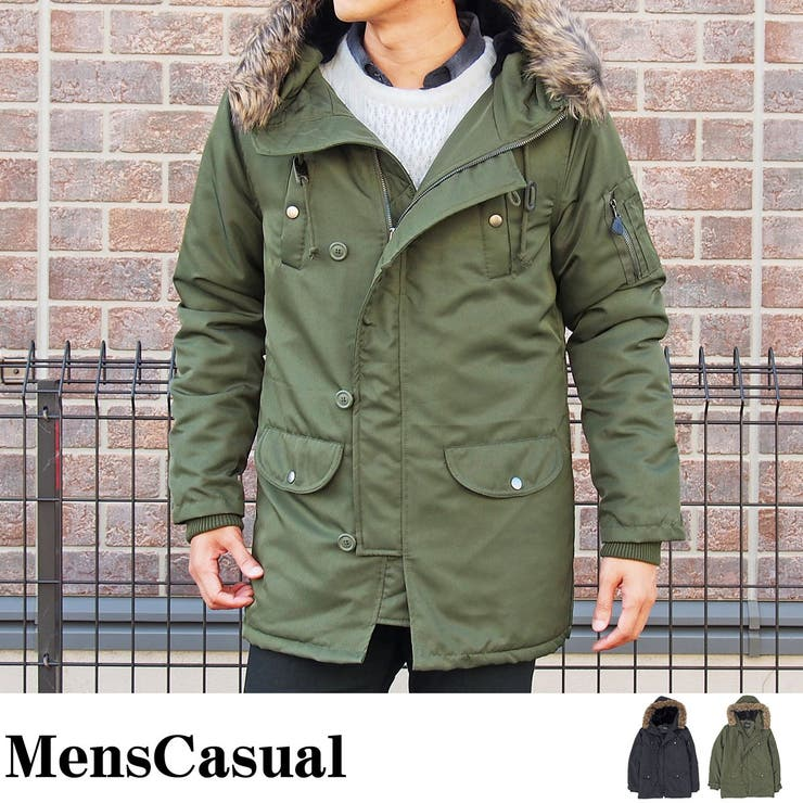 N3B メンズ ジャケット 中綿 ミリタリー コート スーツ生地 ファー 脱着式 2WAY 無地 フライトジャケット アウタージャンパー ブルゾン キレイ目 アメカジ メンズカジュアル 通販 新作