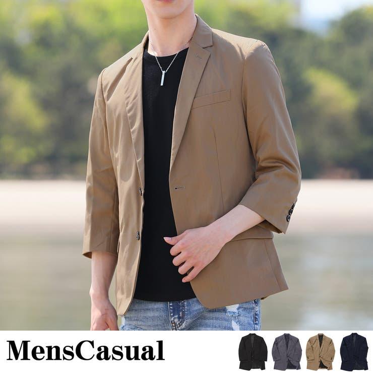 テーラードジャケット メンズ シングル 無地 ストライプ 1つボタン 2つボタン スーツ 生地 ノッチドラペル | 詳細画像