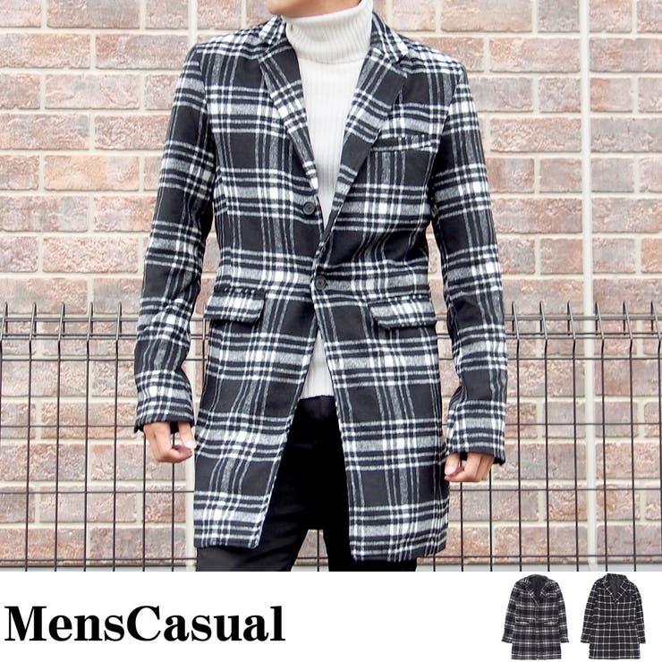チェスターコート メンズ ロングコート ジャケット タータンチェック ウィンドウペンチェック ブラック BLACK コート アウターメンズカジュアル 通販 新作
