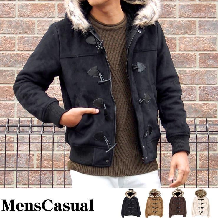 ダッフルコート メンズ コート フェイクムートン 裏ボア フードファー脱着式 2WAY 袖裾リブ タイト ショート丈 ジャケット 暖アウター メンズカジュアル 通販 新作