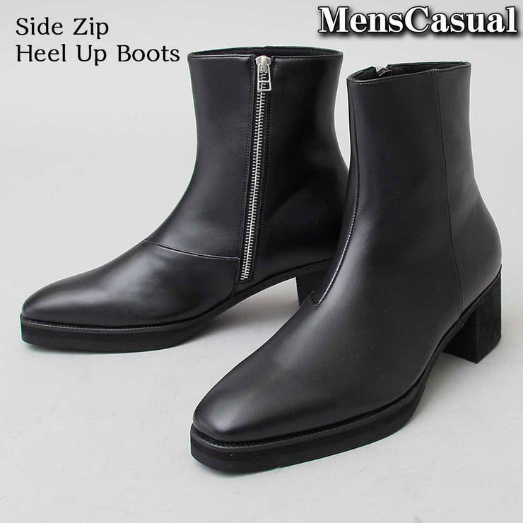 ヒールブーツ メンズ サイドジップブーツ ショートブーツ  シューズ 靴 新作 | MC | 詳細画像1