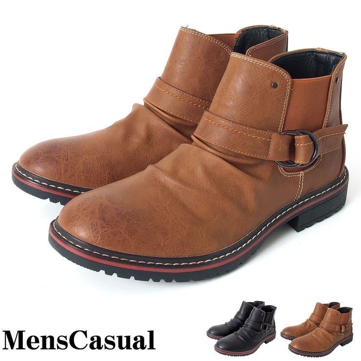 ブーツ メンズ サイドゴア ブーツ ドレープ加工 ベルト付 サイドジップ フェイクレザー メンズカジュアル 通販 カジュアルシューズメンズ靴 靴 新作 人気 服