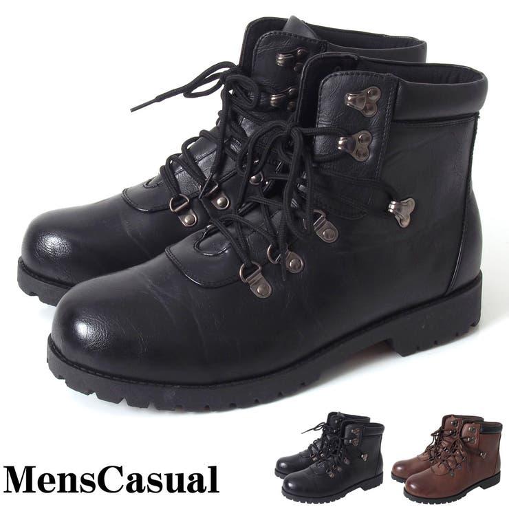 マウンテンブーツ メンズ メンズワークブーツ フェイクレザー レースアップ アンティーク加工 ブラックソール カジュアルシューズメンズ靴 靴 アメカジ メンズカジュアル 通販 新作
