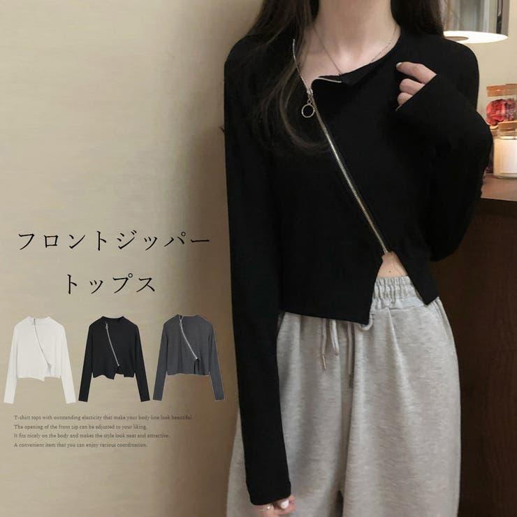 Tシャツトップス ジッパートップス韓国   Miniministore   詳細画像1