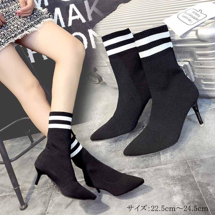 ブーツ ソックスブーツ レディースブーツ ヒール 靴 ショートブーツ 韓国   Miniministore   詳細画像1
