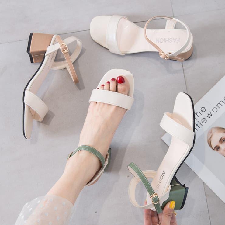 サンダル レディース 靴 太ヒール ハイヒール ストラップ 春夏 歩きやすい   Miniministore   詳細画像1