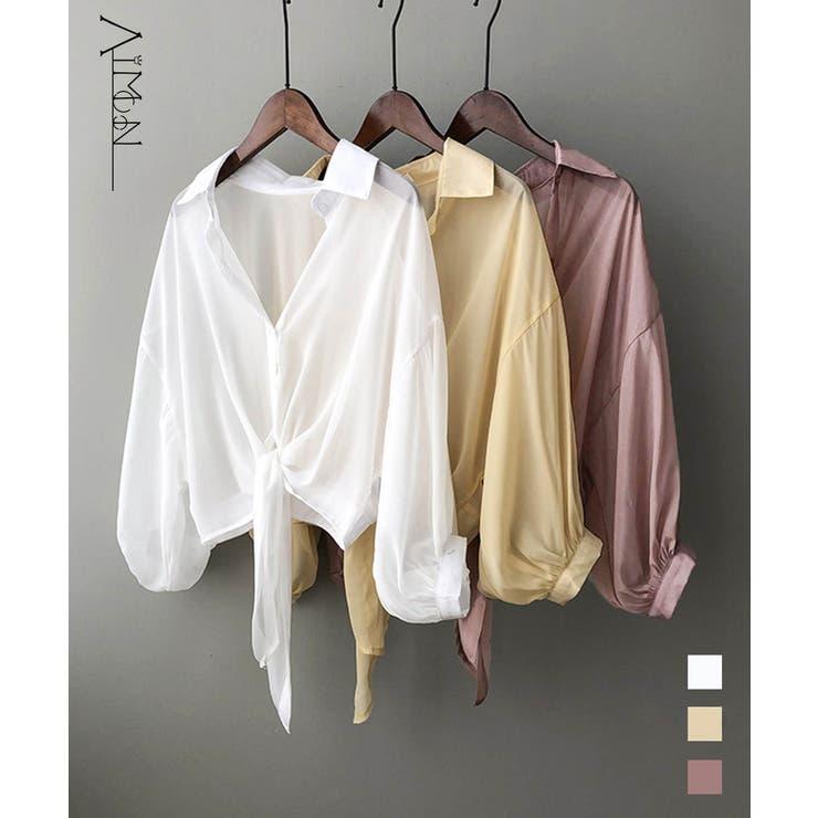 裾結び シアーシャツブラウス 韓国風 | Aimoon | 詳細画像1