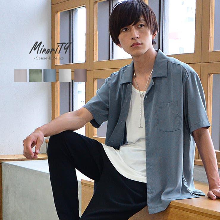 半袖オープンカラーシャツ メンズ 開襟シャツ   MinoriTY   詳細画像1