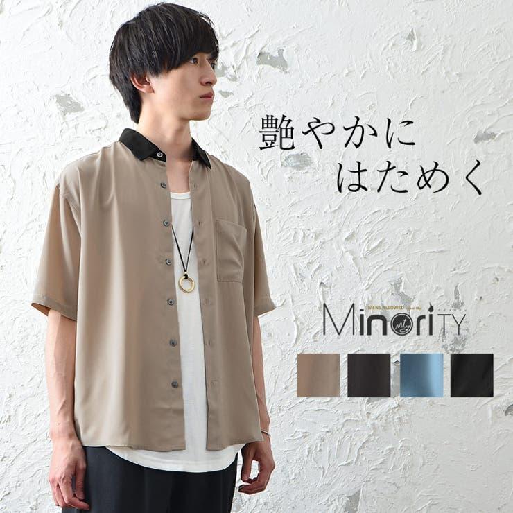 半袖とろみ素材クレリックシャツ | 詳細画像