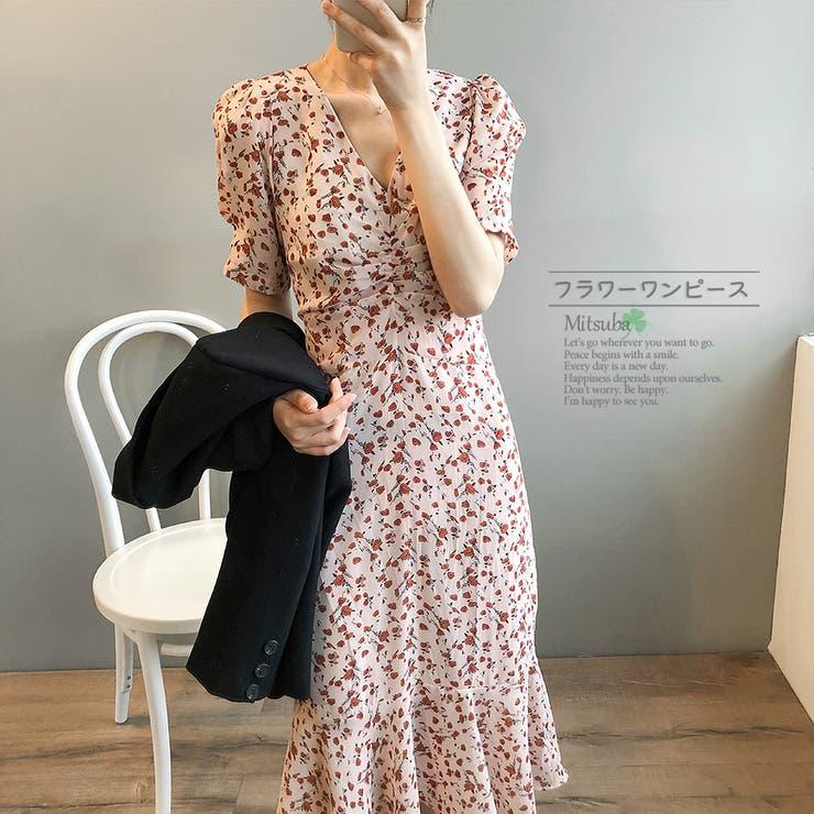 花柄ピンクのVカットワンピース ドレス ワンピース   みつば   詳細画像1