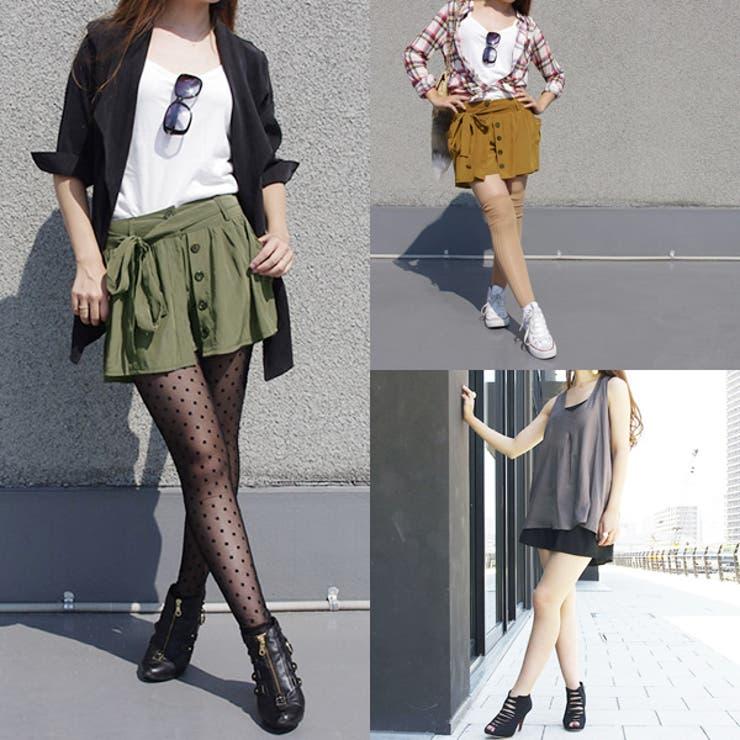 リボン付き ミニスカート風 ショートパンツ | MODE ROBE | 詳細画像1
