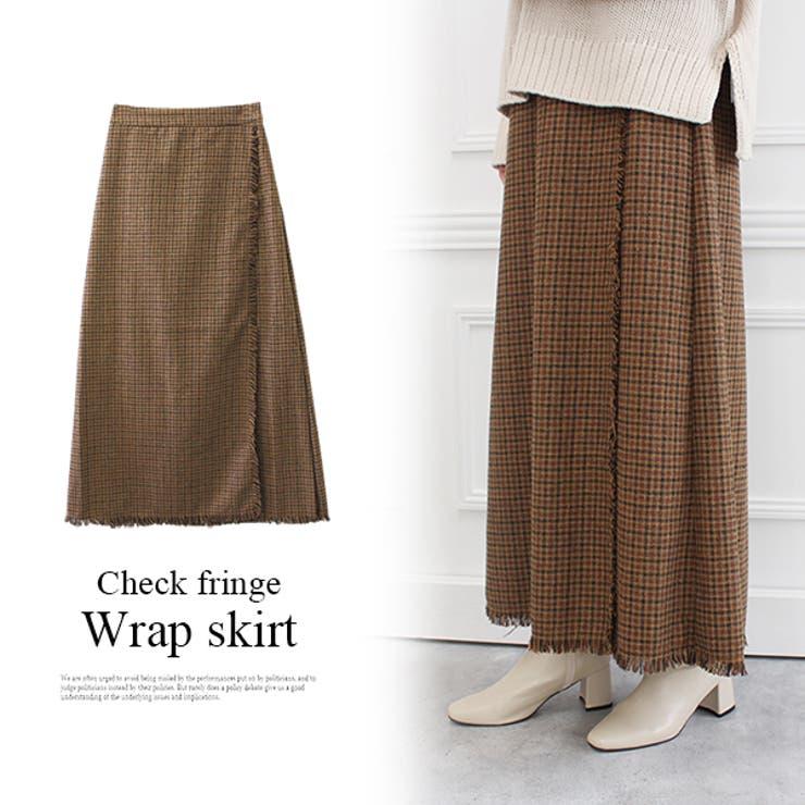チェックフリンジラップスカート チェックスカート スカート   MODE ROBE   詳細画像1
