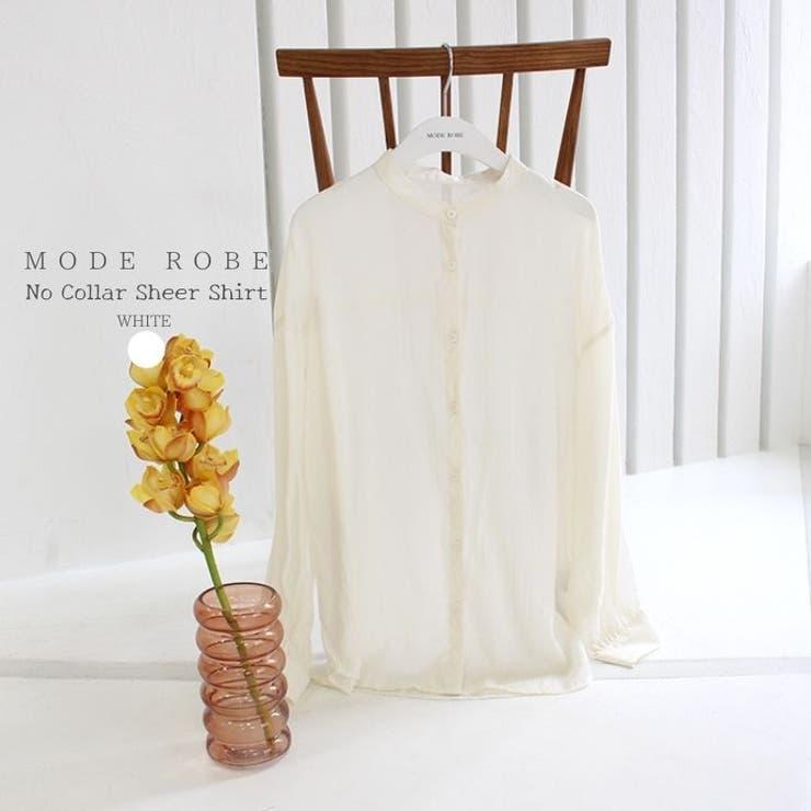 ノーカラーシアーシャツ   MODE ROBE   詳細画像1