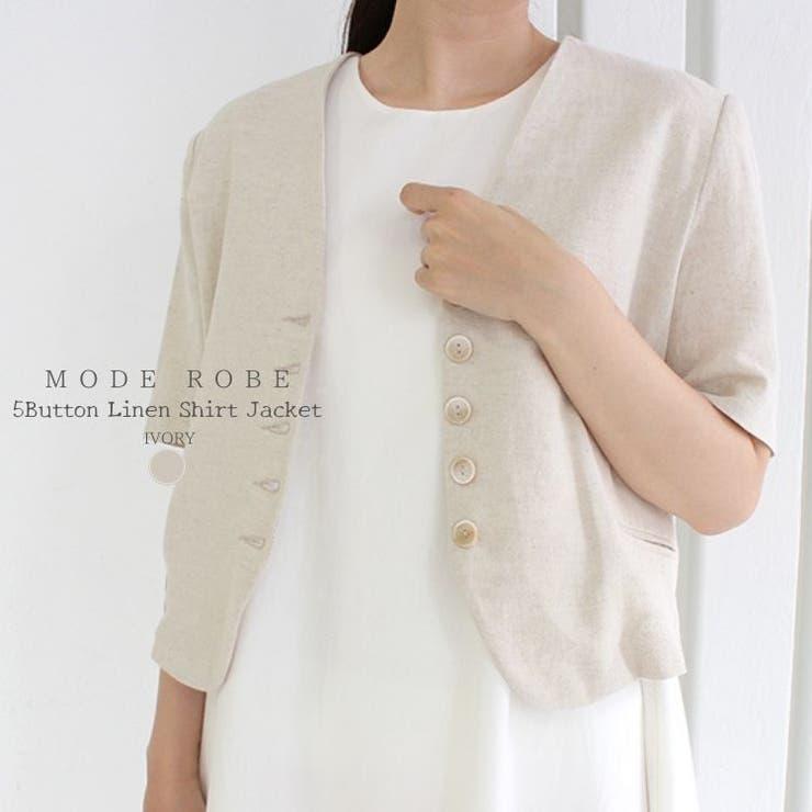 5ボタンリネンシャツジャケット   MODE ROBE   詳細画像1