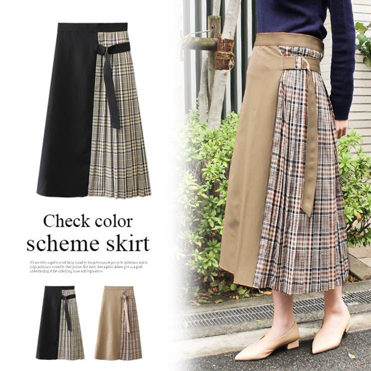 チェック配色スカート チェック スカート   MODE ROBE   詳細画像1