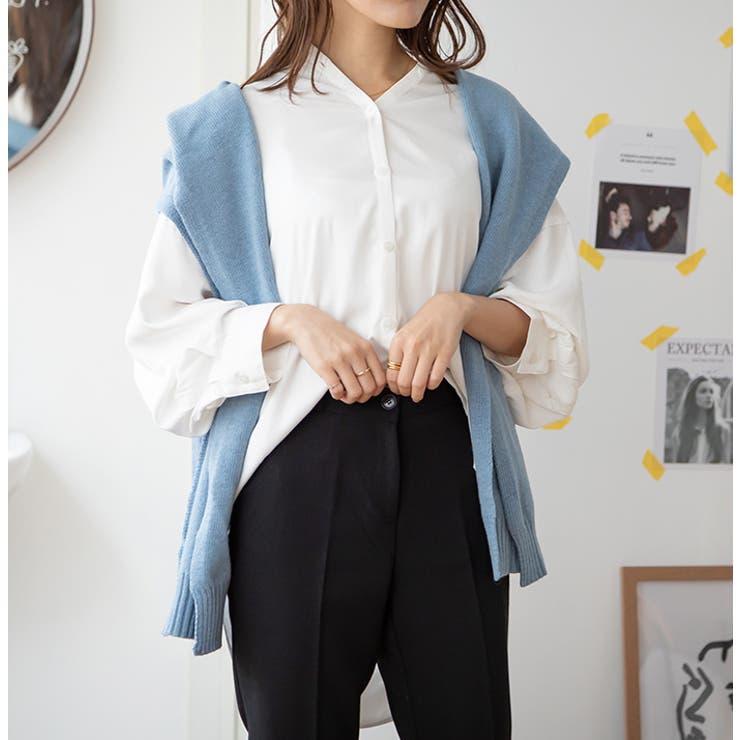 ノーカラーシンプルシャツ   MODE ROBE   詳細画像1