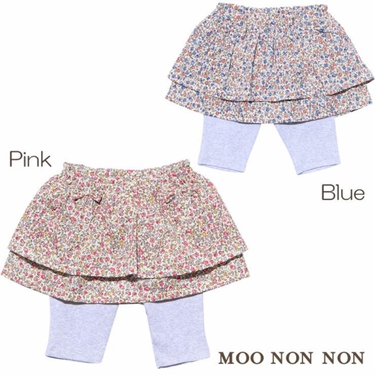 普段着ベビーサイズ小花柄リボン付きスカートレギンスつき5分丈スカッツ | 詳細画像