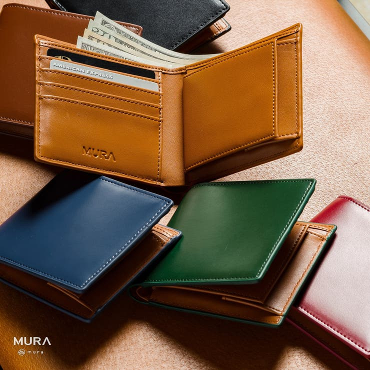 コードバン調/カーボン レザー box型小銭入れ 二つ折り財布 | MURA | 詳細画像1
